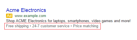 "Google Adwords ""Call Out Extensions"""